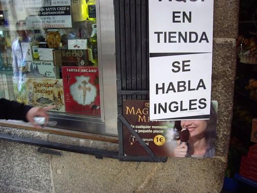 Se habla ingles (escrito en español)