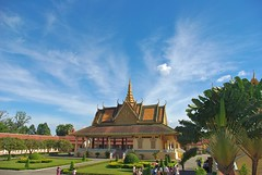 royal palace - buildings (stevie0020) Tags: blue sky yellow clouds buildings gold cambodia phnompenh royalpalace stevie0020