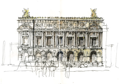 architecture building drawing. Paris01_04 Garnier Opera Architecture Building Drawing O