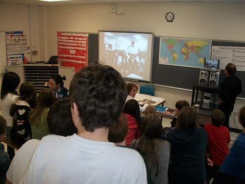 Students at Nasis Middle and Fort Worth Academy practice solving the worlds problems via video conference.