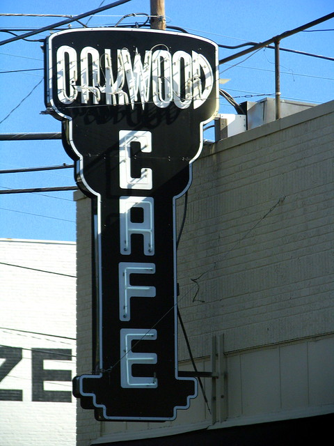 Oakwood Cafe neon sign