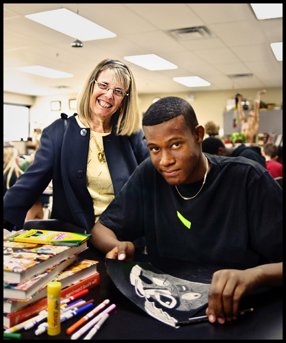 Arts Coordinator Ann Tomlins w/ Student [Booker T. Washington High School]