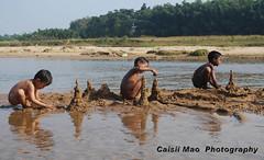 Indian Kids in River Bank (caisiimao) Tags: winter india playing kids river photography three bath bank nagaland dimapur cisiimao