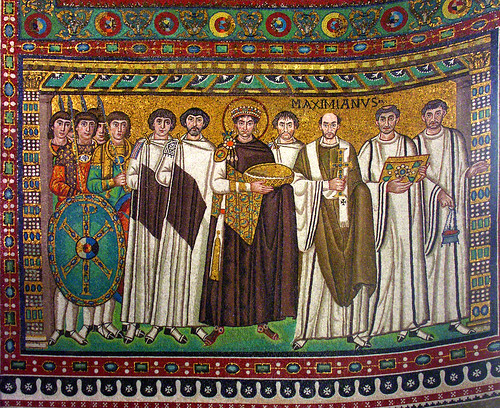 Justinian and his court (corrected perspective)