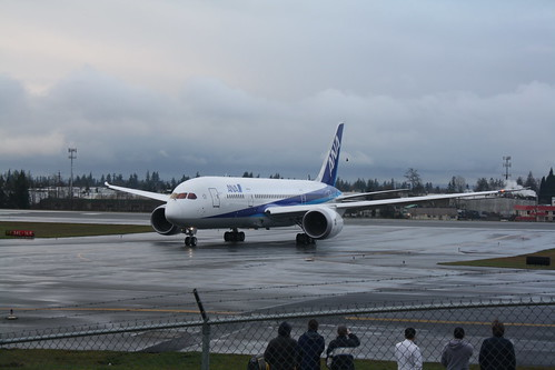 787 ZA001 (ANA colors) First Flight - Departure from KPAE