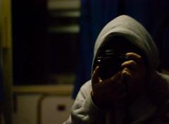 my face (Luigi Rabboni) Tags: portrait reflection silhouette night train dark 50mm reflex scary nikon loneliness ghost mani horror isolation lonely phantom kenny ritratto treno nero notte viso specchio buio isolamento scuro solitudine d60 volto cappuccio vagone scompartimento tossico autoritrappo