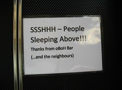 SSHHH people sleeping above