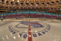 Center Ice (SonySchoey) Tags: city nyc blue red white ny newyork ice hockey lines logo nhl boards center fisheye arena seats msg madisonsquaregarden rangers