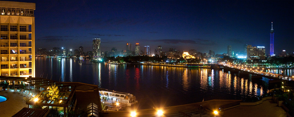 Cairo and Nile river night view