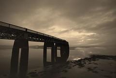 The Bridge. (stonefaction) Tags: bridge sunset river landscape scotland still twilight scenery dundee calm tay gloaming railbridge