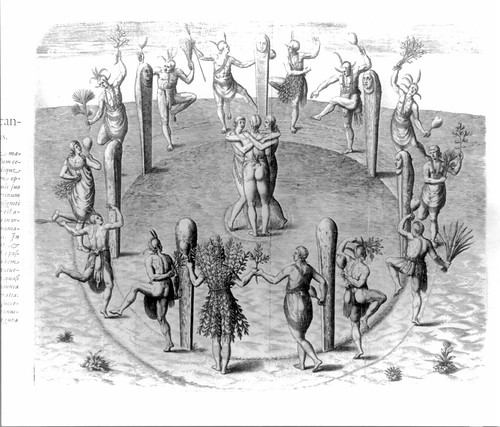 American Indians dancing in a circle