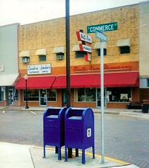 TEXAS TWINS: SOMETIME IN TEXAS (roberthuffstutter) Tags: commerce letters mailboxes streetsigns storefronts 1990s postalservice senators thenandnow cityscenes peopleschoice representatives brickstreets texastwins termlimits nextelection twinmailboxes huffstutter wegetwhatwedeserve mudwrestlingreview newmudwrestlingphotos americasdecline blameitoncongress blameourselves votingpower storefrontsusa