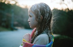 (mary_robinson) Tags: sunset color film water glitter bathroom rainbow bath fuji sister 400 canonae1 kimmy