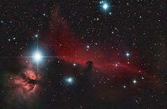 Horsehead and Flame nebulas (zAmb0ni) Tags: sky night stars long exposure space flame nebula astrophotography orion astronomy horsehead b33