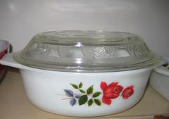 jaj with glasbake lid (crafty_dame) Tags: england rose vintage housewares casserole thrift glasbake milkglass jaj