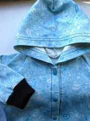Blue Doodle Baby Hoodie detail