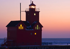 Big Red Lights (Tim Kornoelje) Tags: travel winter light sunset red usa lighthouse snow cold holland tourism beautiful night america evening frozen midwest scenery glow quiet unitedstates michigan scenic calm structure fresh historic lakemichigan greatlakes historical nautical snowfall beacon tranquil navigation channel 2010 hollandstatepark