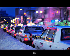 Hirosaki Taxi.    Glenn Waters Japan.. Over 31,000  visits to this photo. Thank you! (Glenn Waters in Japan.) Tags: street winter 3 snow japan night japanese lights nikon bokeh taxi australia noflash explore aomori  hirosaki frontpage   japon    8514  explored  nikkor85mmf14d nikkor85mm14d d700 nikond700  glennwaters