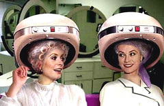053 - 2 Pink Box Chat (Sydney Michelle) Tags: pink net set hair pair pearls hood salon dryer hairnet 2000s beautyparlor oughties