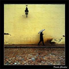 Piove (Davide Cherubini) Tags: muro rain yellow wall umbrella lluvia bravo amarillo giallo chapeau pioggia lanterna lampione ombrello cherubini paraagua photographia flickrdiamond dcherubini davidecherubini artofimages bestcapturesaoi elitegalleryaoi theauthorsclub oraosm