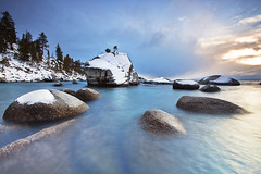 Winter on Bonsai Rock:  Lake Tahoe, Nevada (Ivan Sohrakoff) Tags: california blue trees winter mountain lake snow rock rocks nevada tahoe laketahoe sierra granite bonsai bonsaitree sierranevada eastshore bonsairock ivansohrakoff