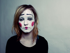 Sad (holliemc) Tags: portrait girl sad clown lonely ringflash sadgirl sadclown clownmakeup