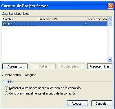 Cuentas de Project Server