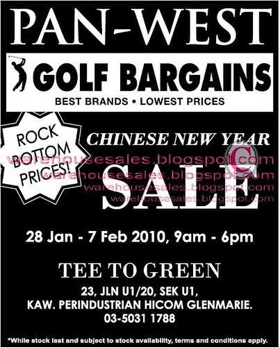 28 Jan - 7 Feb: Pan - West Golf Bargains Sale