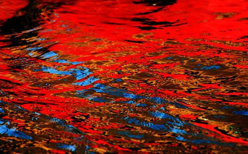 Water art: A touch of blue in a sea of red