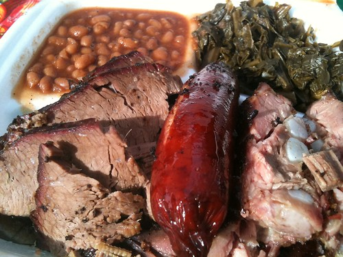 Bigmista's BBQ (Atwater Village Farmer's Market): Brisket, Hot Links, Ribs, Beans, Collard Greens