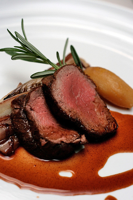 Angus Prime Beef Tenderloin with Goose Liver & Port Wine Sauce and Radicchio