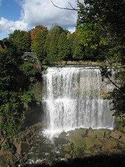 (nballis) Tags: bridge trees green nature water clouds waterfall rocks falls strongwater