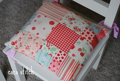 children's seat cushion- pink patchwork (coco stitch) Tags: pink red flower cute green ikea animal children interior etsy seatcushion kidroom japanesefabric roomdecor seatpad cocostitch