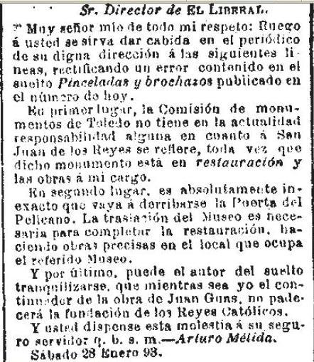 Respuesta de Arturo Mélida ante la polémica por el posible derribo de la Puerta del Pelícano de San Juan de los Reyes. Diario El Liberal de 29 de enero de 1893