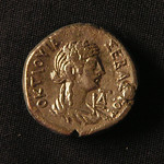"<b>30 reverse</b><br/> The Greek inscription reads OKTAOYIA (Octavia), Nero's first wife. It is written that Nero was unhappy with his marriage to Octavia and grew tired of her, although the Roman people adored her. He had affairs with several women, eventually marrying Poppaea Sabina when she became pregnant with his child, divorcing Octavia. Nero sent his former wife to exile on the charge of adultery, but his actions were so unpopular with the Roman people that he considered remarrying her. In the end he settled on signing an order for her execution.  Donated by Dr. Orlando ""Pip"" Qualley<a href=""http://farm5.static.flickr.com/4040/4351073103_d2a5b79fbe_o.jpg"" title=""High res"">∝</a>"