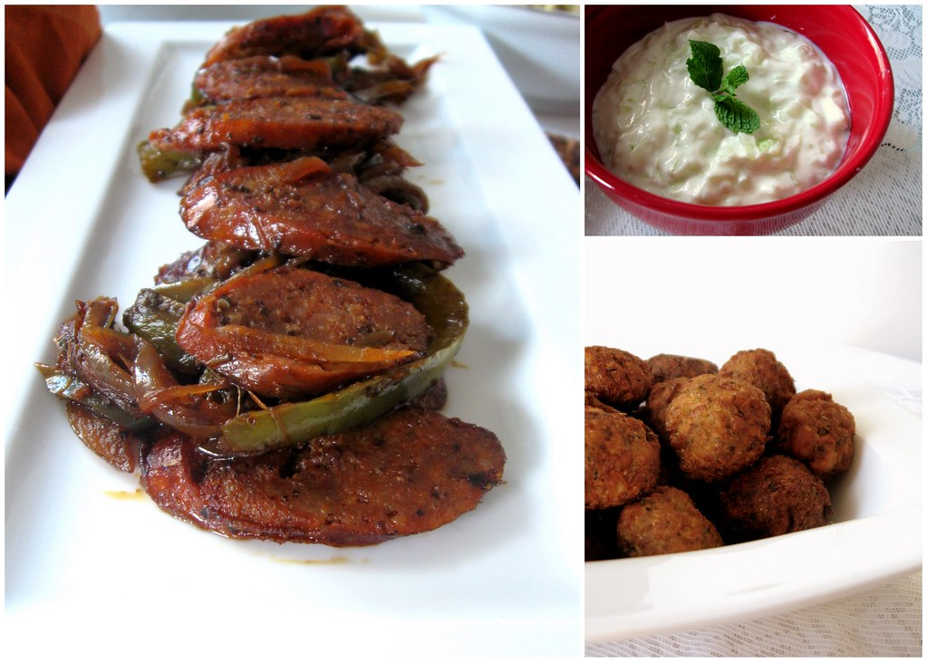 Mezze collage - Spicy sausage, falafel, Tzatziki