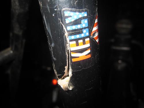 Broken seat tube