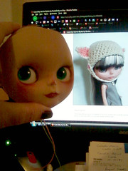 Gracie & her ,soon to be, new hat to cover her poor baldness..lol (*Treppenwitz*) Tags: pink hat work toy gracie doll texas phone purple houston progress wip pic correct wig blythe pasadena drake custom ashton gaze boggle pleasant pinafore compare pp peasant adg