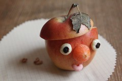 apple boy (virginhoney) Tags: boy food apple face kids fun nose raisins filled carrot funfood yogurt muesli brainfood