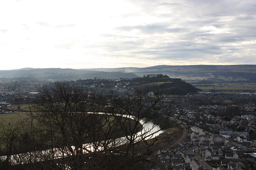 The view from the base of the Wallace Monument. On top of the hill towards the right, you can see Stirling Castle.