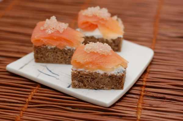 Smoked Salmon and Goat Cheese on Rye with Finger Limes