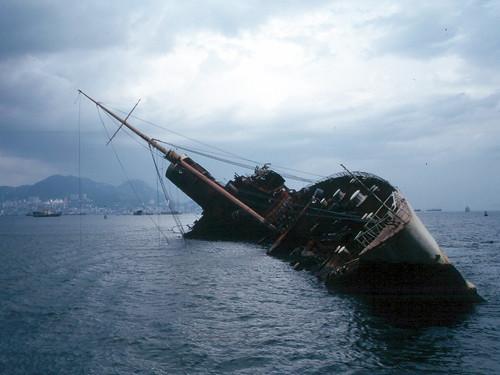 Wreck of Queen Elizabeth in Hong Kong 1972