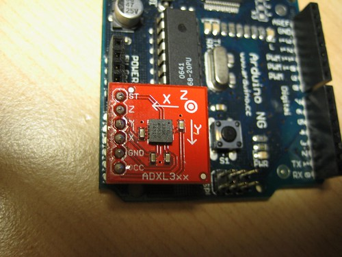 [The accelerometer inserted onto analog pins 0 – 5 on the Arduino NG.]