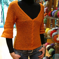 Tina on  her new lovely alpaca sweater (sifis) Tags: light orange wool alpaca canon sweater knitting knit athens yarn lang pullover s90 handknitting sifis sakalak
