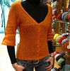 Tina on  her new lovely alpaca sweater (sifis) Tags: light orange wool alpaca canon sweater knitting knit athens yarn lang pullover s90 handknitting sifis sakalak πλεκω πλεκτο μαλλια