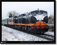 CIE Class 141 Diesel Locos (bbusschots) Tags: ireland winter panorama snow train gm diesel rail railway loco locomotive pan 141 142 irishrail kildare cie rpsi b142 panoramiccrop iarnródéireann class141 córasiompairéireann killcock b141 dieseldo classb141