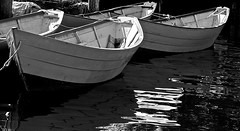 fishing dories (Ed Brodzinsky) Tags: blackandwhite bw monochrome reflections boats harbor blackwhite fishing noiretblanc massachusetts newengland nb maritime gloucester gloucesterma noirblanc dories woodenboats workboats edbrodzinsky fishingdories
