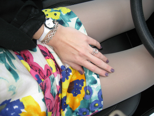 floral dress and gray tights and accessories
