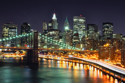 Lower Manhattan at Night from the Manhattan Bridge, NYC