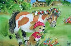"""""""pônei com coelho"""" (♥♥♥Lizete artes♥♥♥) Tags: cachorro cogumelo coelho vaca pinto girassol pônei burrinho pinturatecido panodeprato lizeteartes"""